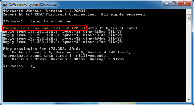 Facebook IP address