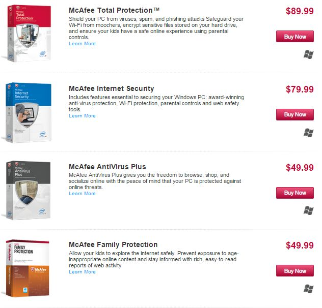 Mcafee-Prices